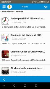 La pagina news dell'App