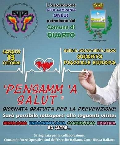 """""""Pensamm 'a salut"""", sabato giornata di prevenzione a Quarto"""